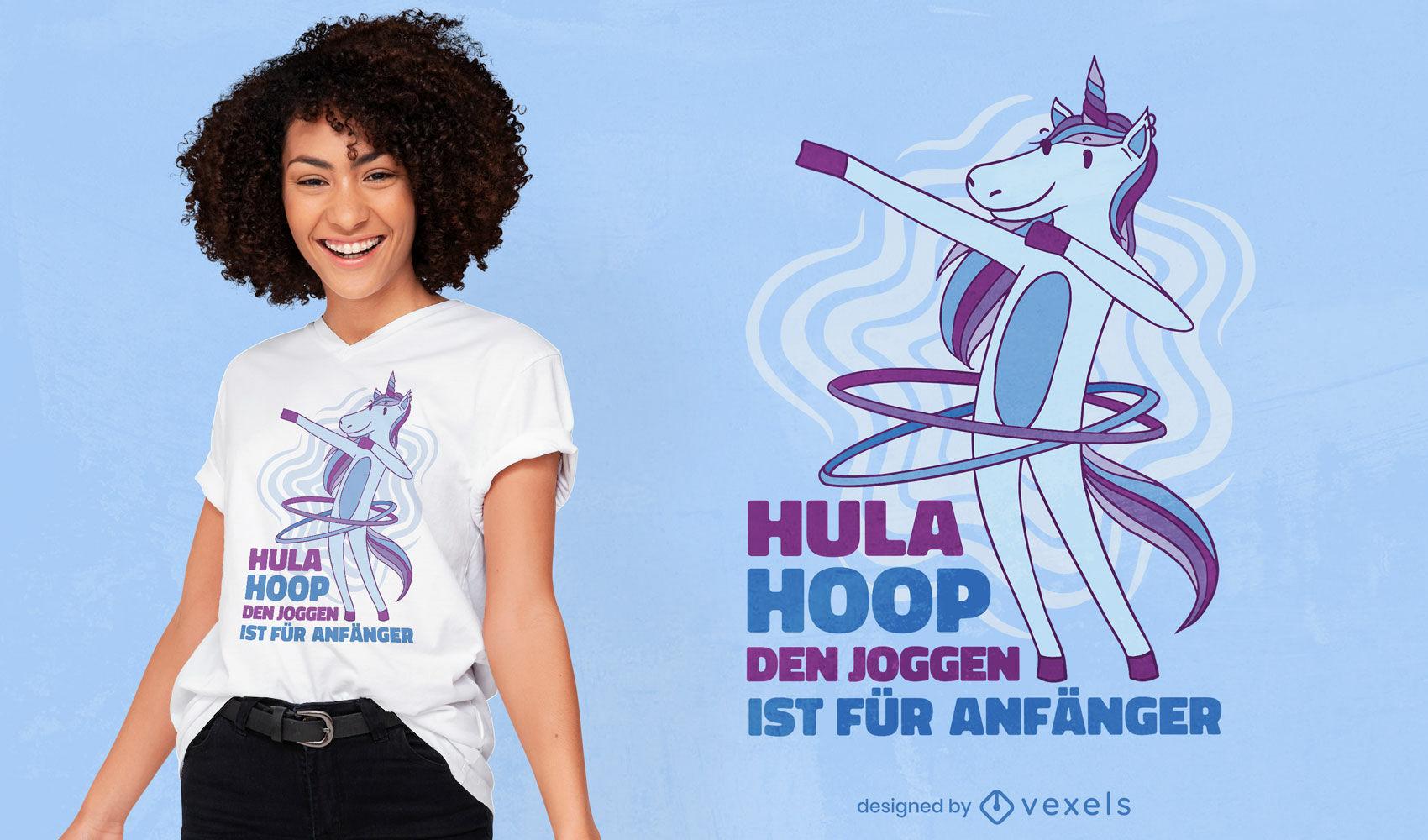 Design de t-shirt unicórnio hula hoop dabbing