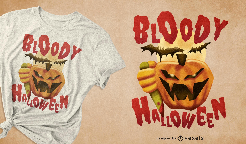 Design de t-shirt de abóbora assassina de Halloween