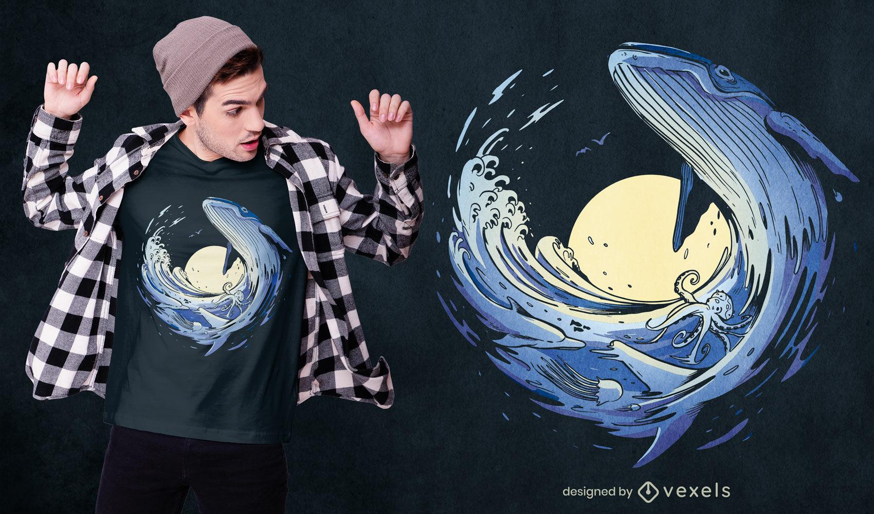 Diseño de camiseta de animales marinos ballena ola oceánica
