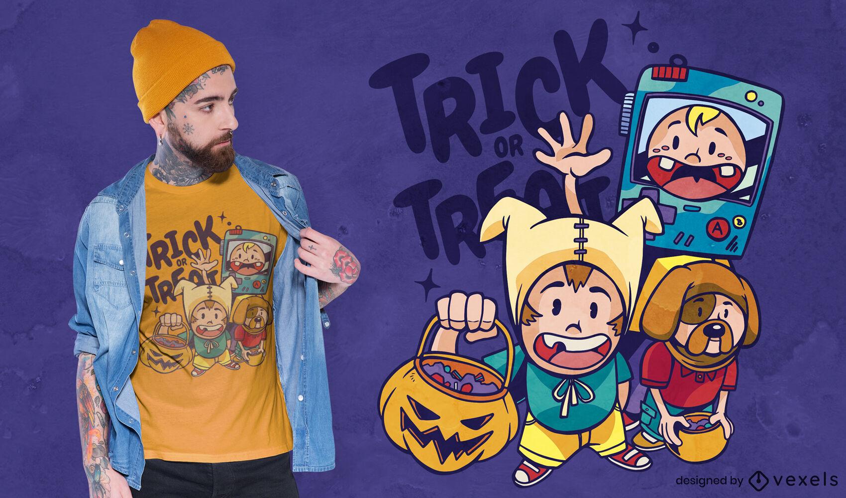 Diseño de camiseta de disfraces de halloween para niños.