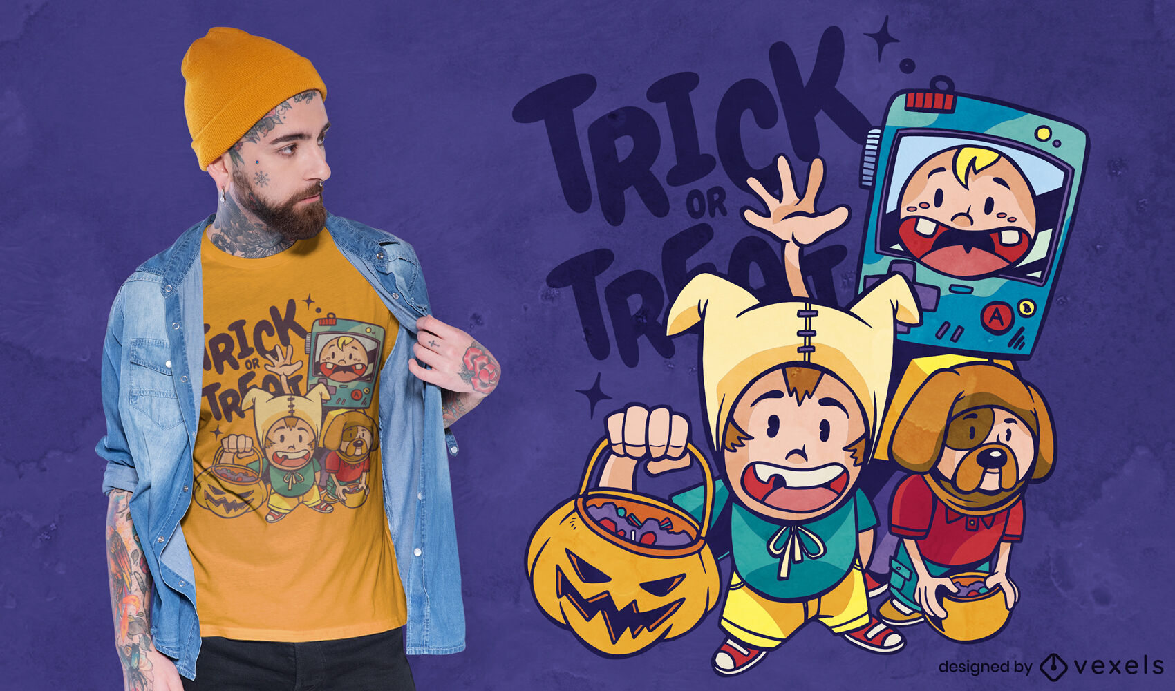 Kinder Halloween Kostüme T-Shirt Design