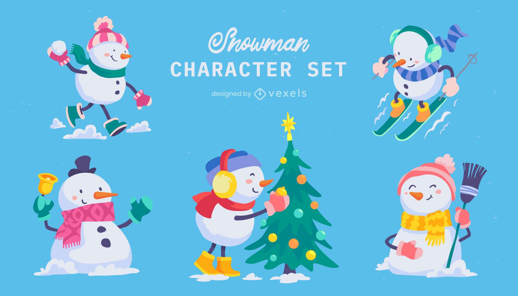 Cute snowman character set