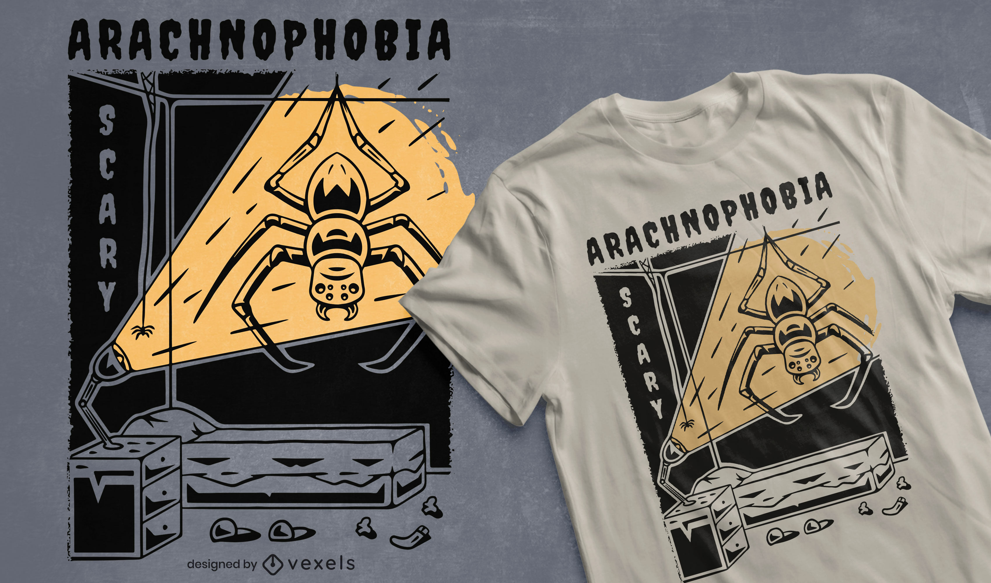 Dise?o de camiseta espeluznante Arachnophobia