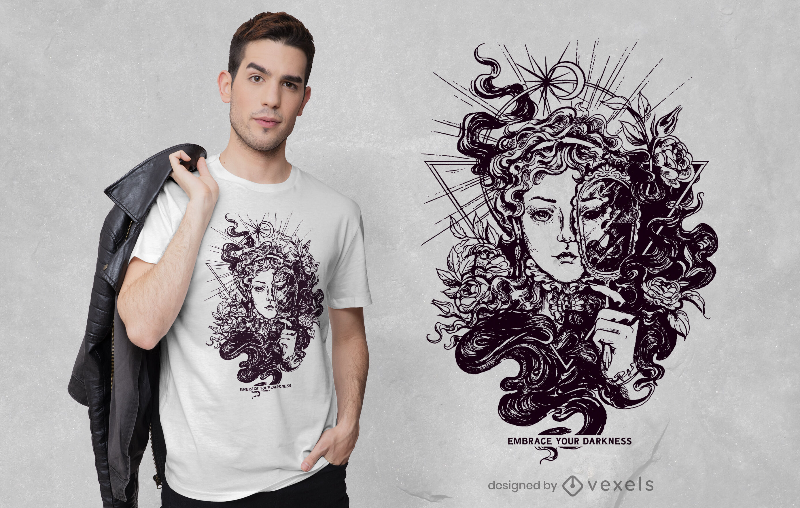 Design de camiseta feminina escura