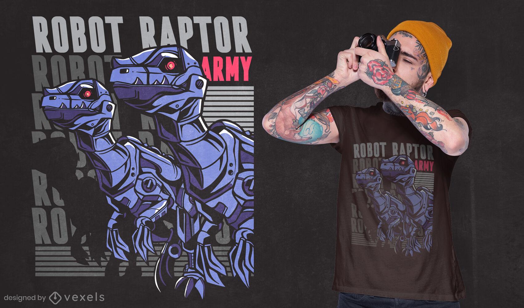 Cool robot raptor t-shirt design