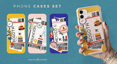 Latin america boarding passes phone case set
