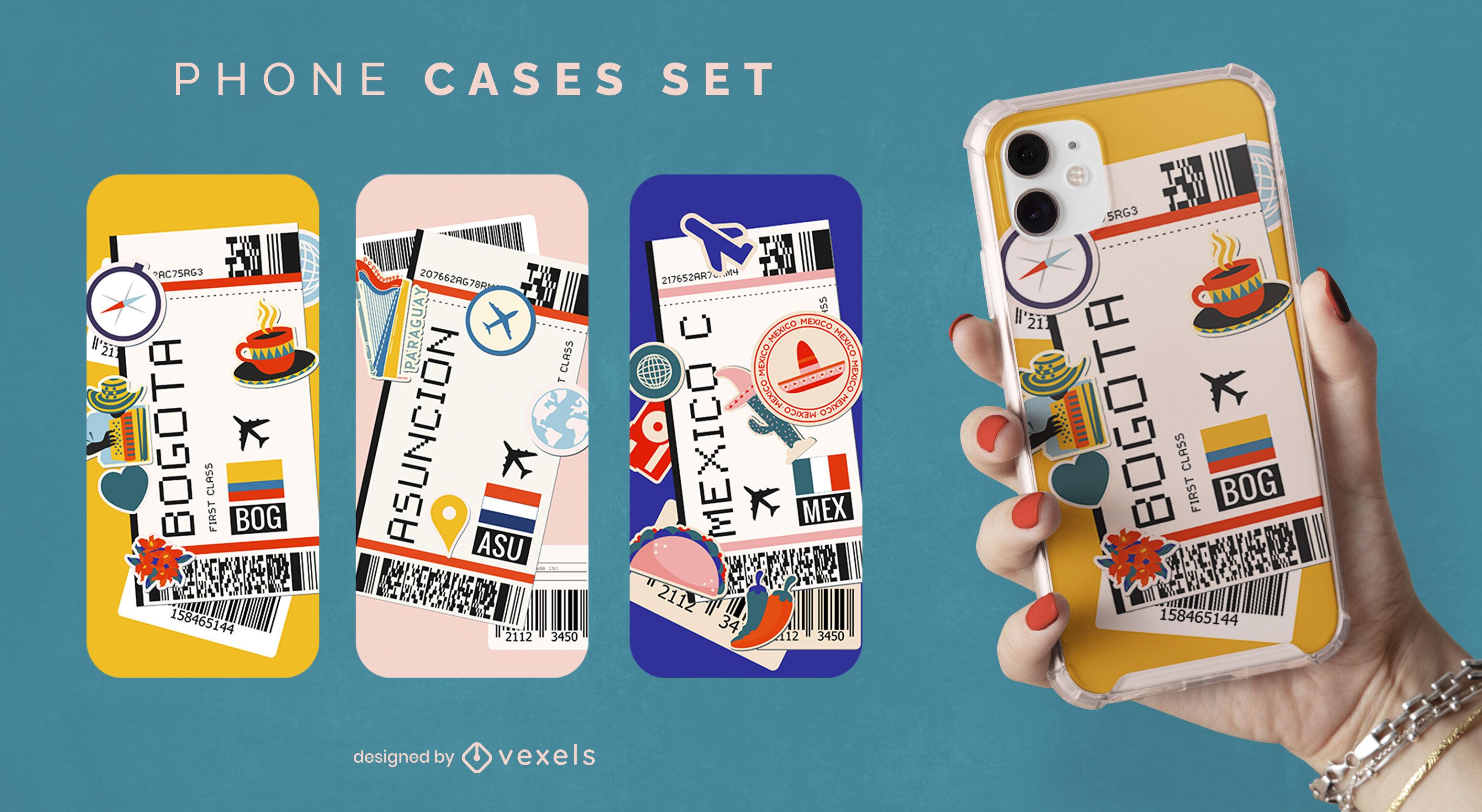 Conjunto de estuches para teléfonos con tarjetas de embarque para latinoamérica