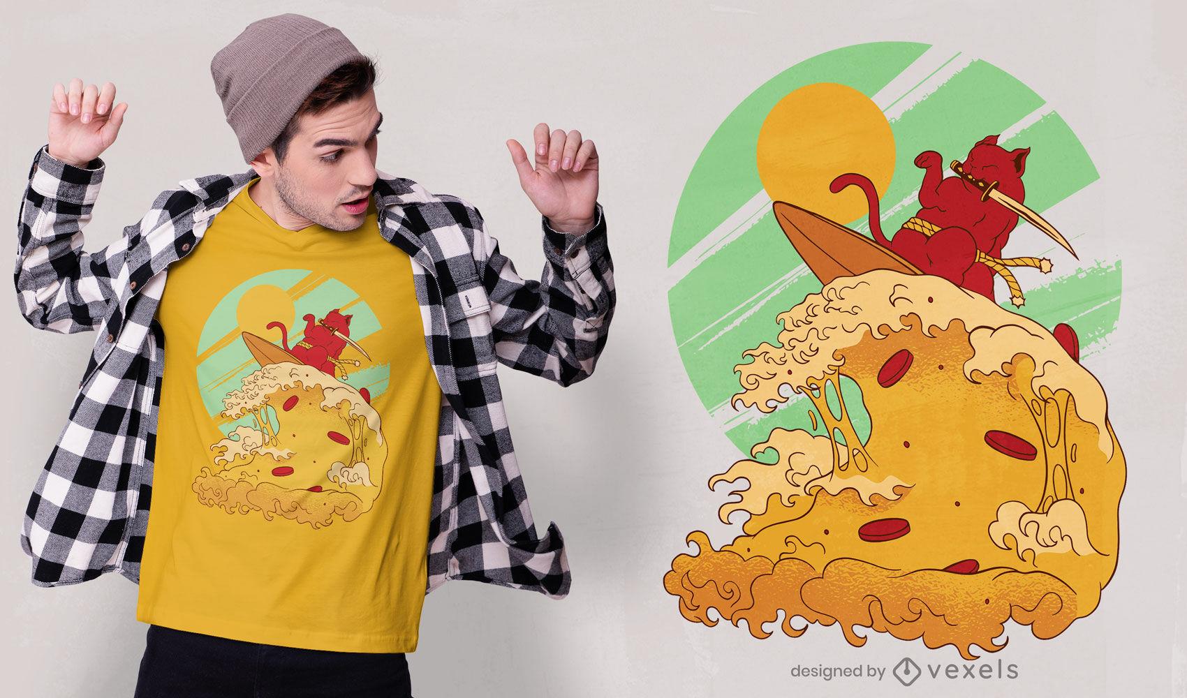 Diseño de camiseta de ola de pizza de gato japonés surfing