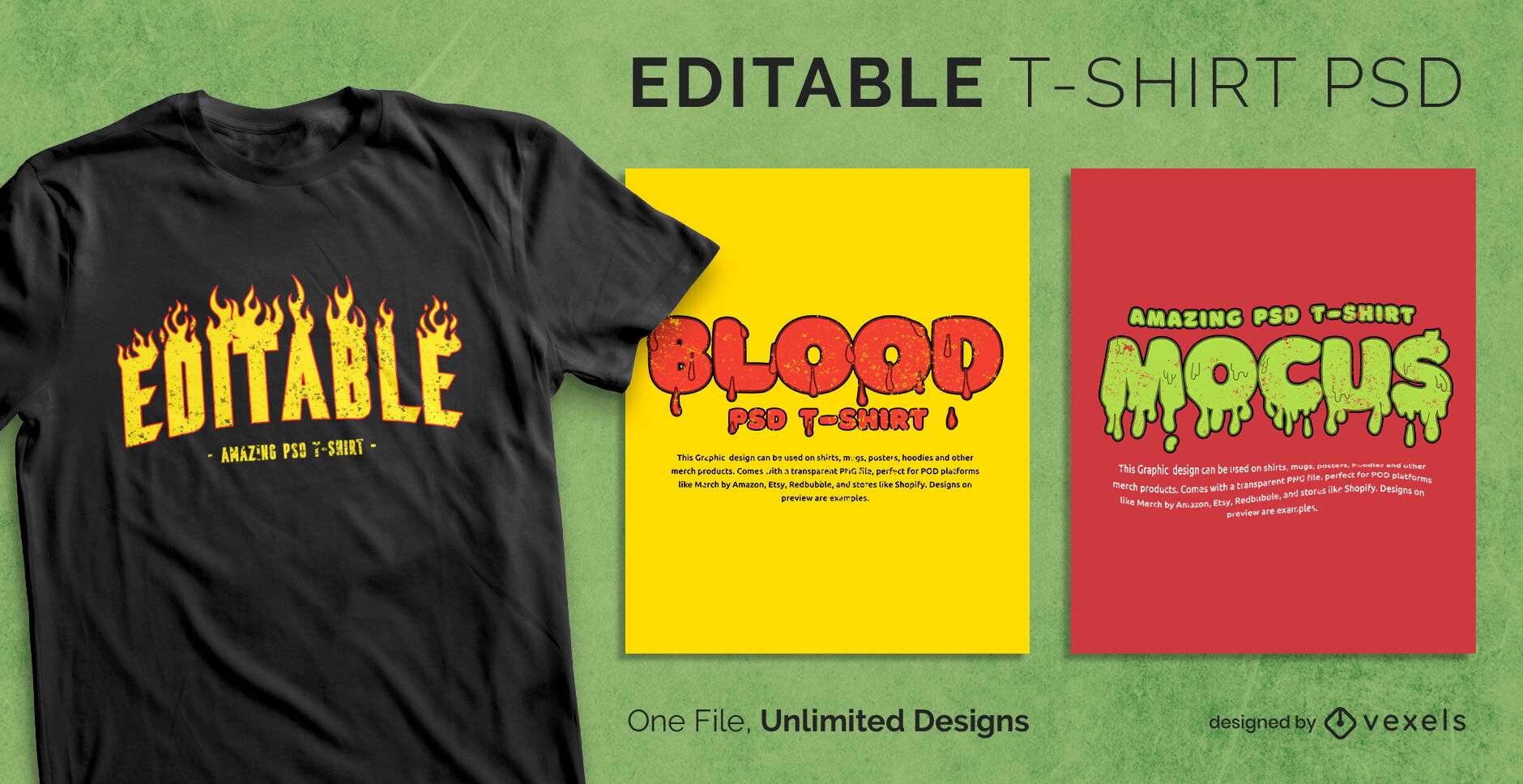 Fire and drops scalable t-shirt template