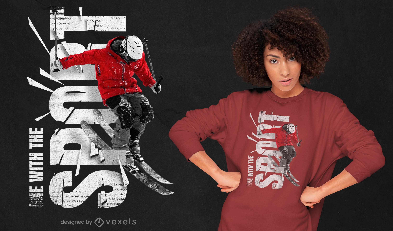 Design de t-shirt PSD desportiva de esqui