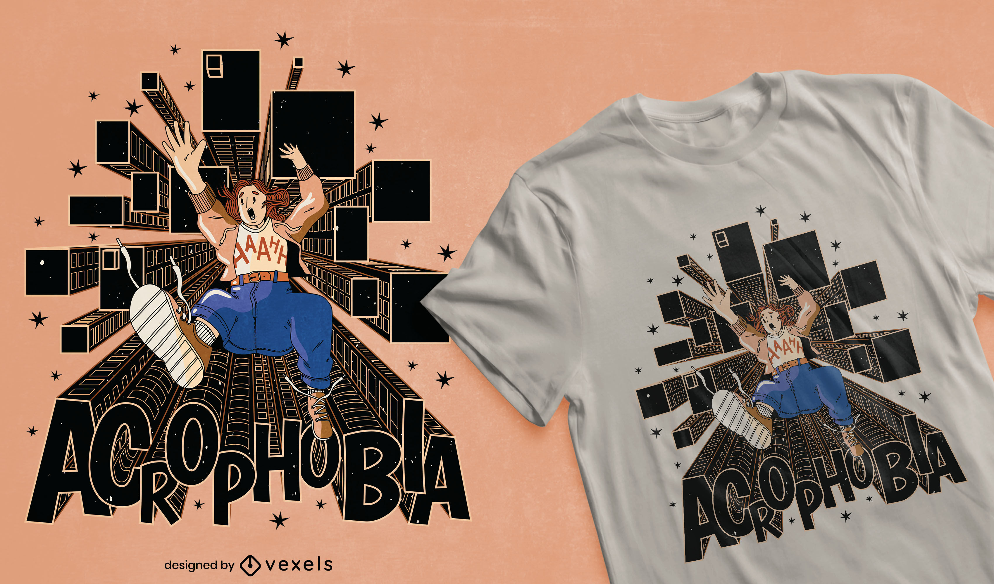 Cool acrophobia t-shirt design