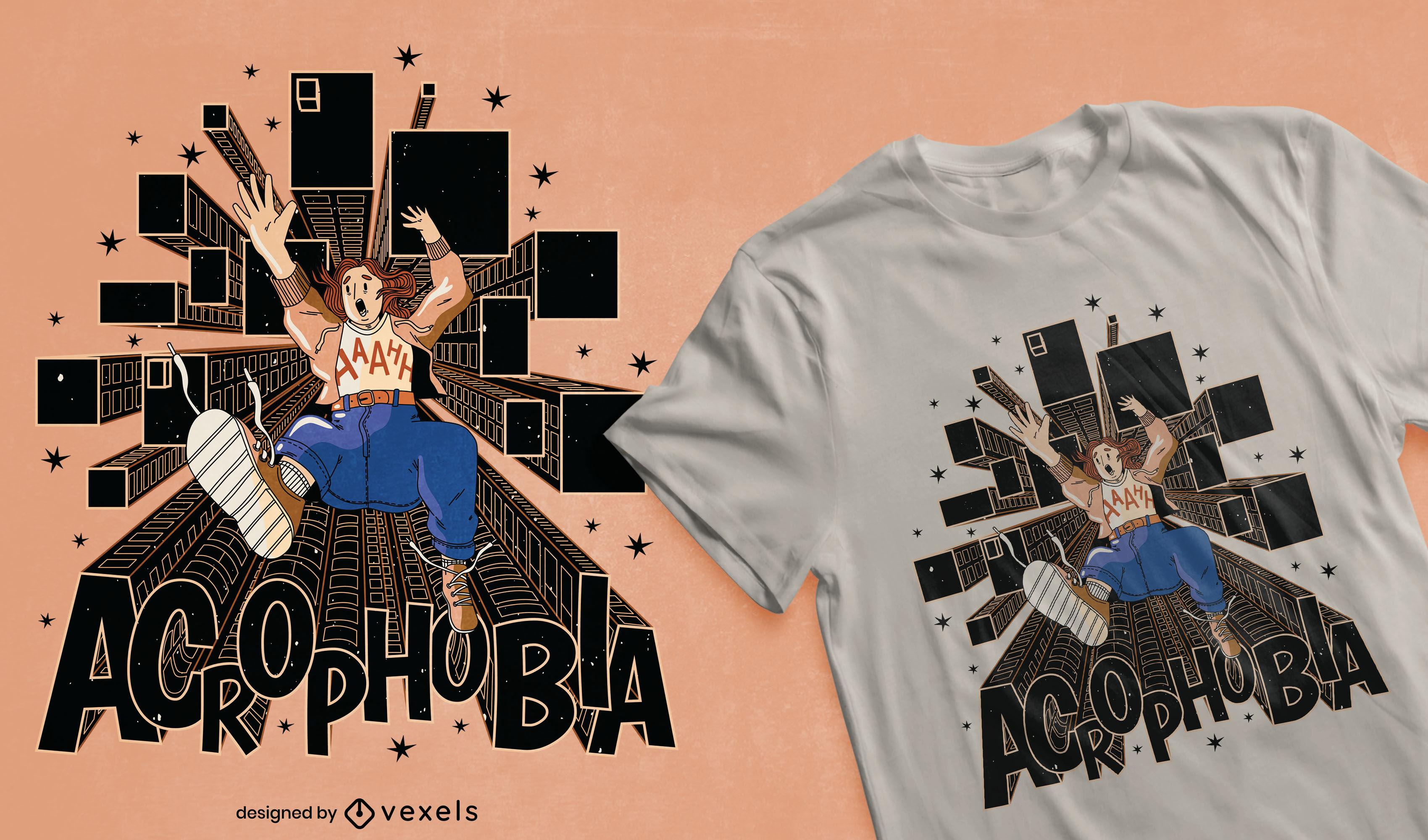 Diseño de camiseta de acrofobia genial