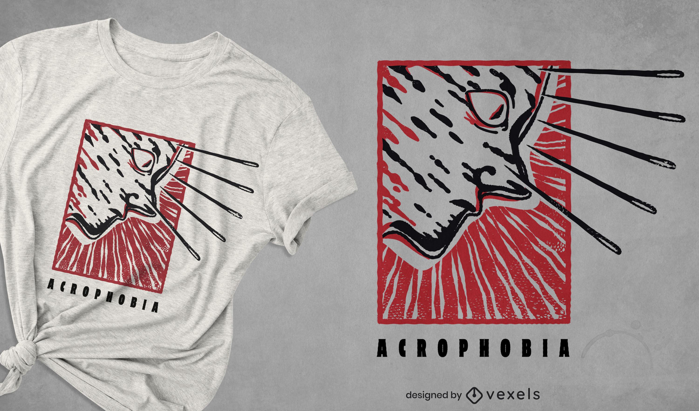 Creepy acrophobia t-shirt design