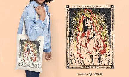 Woman on fire illustration tote bag design