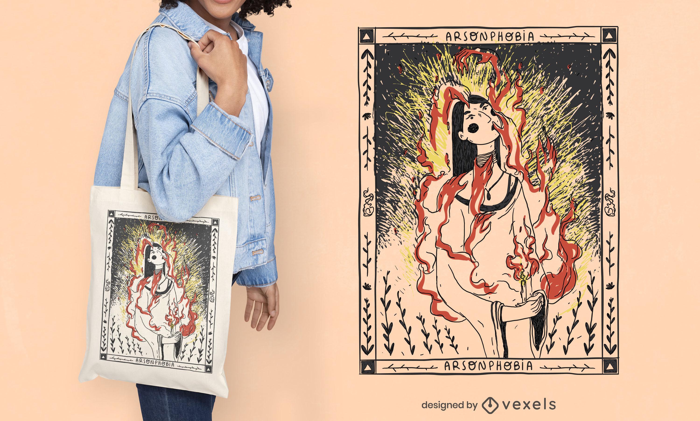 Diseño de la bolsa de asas de la ilustración de la mujer en el fuego