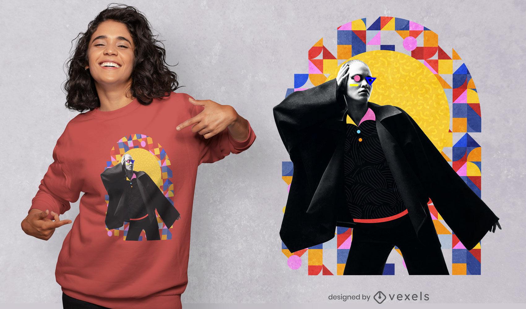 Girl posing geometric shapes composition psd t-shirt design