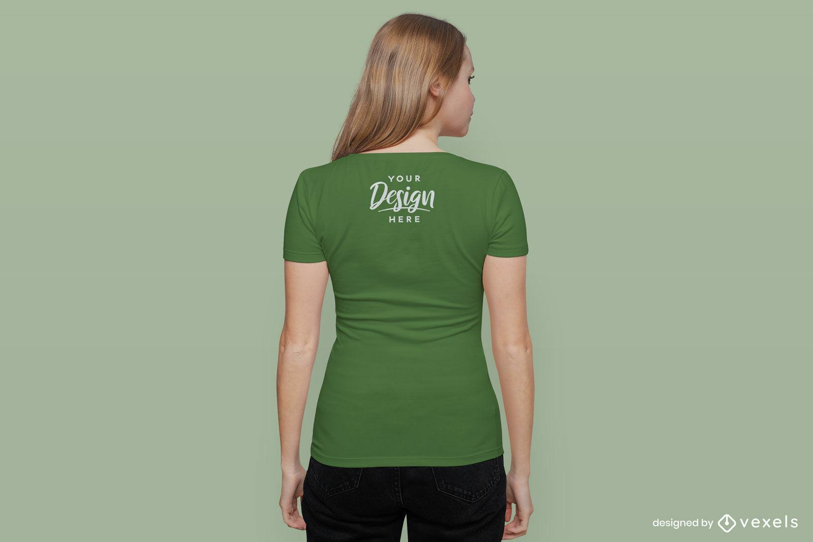 Green t-shirt girl backwards mockup on flat background