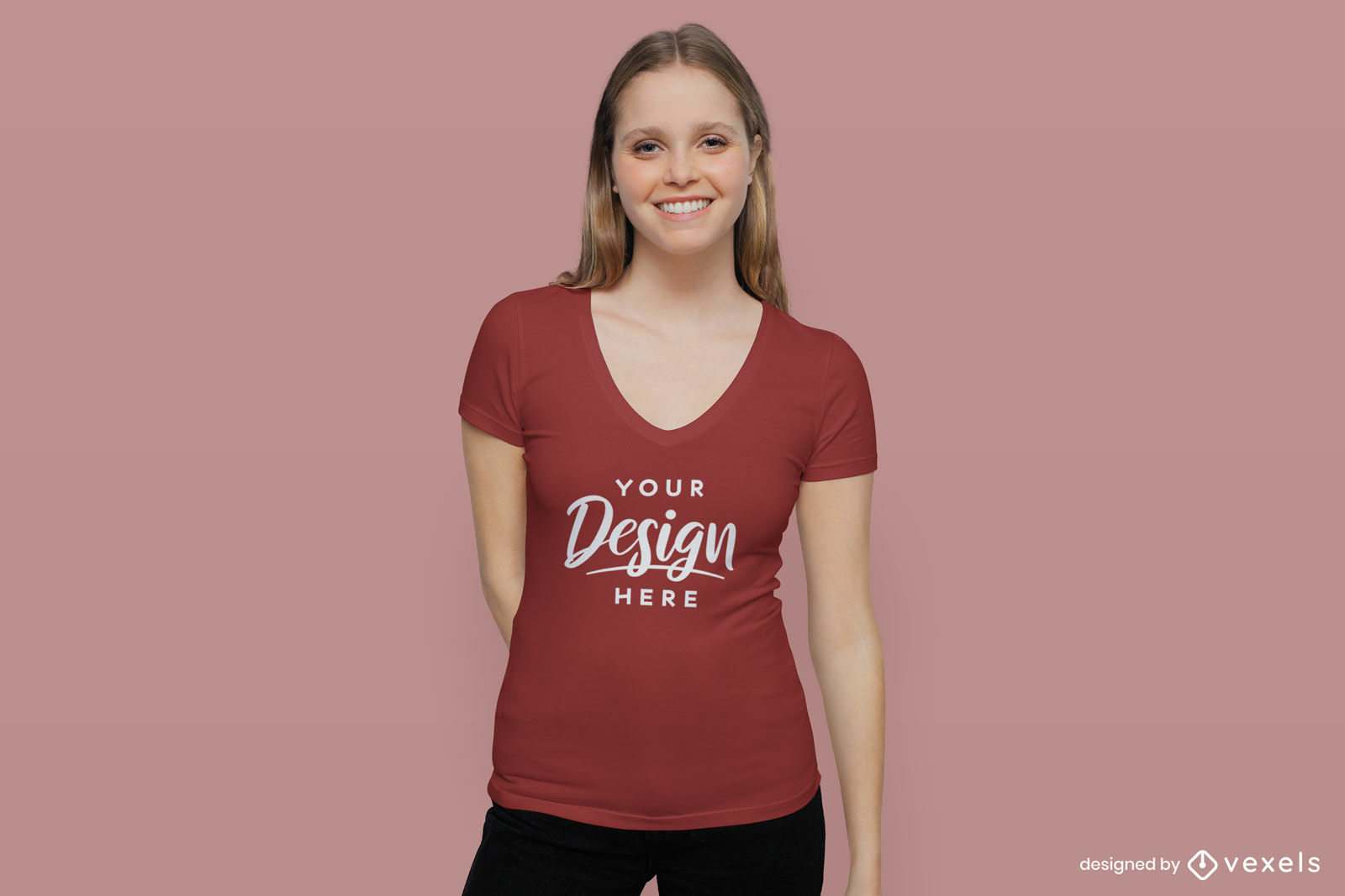 Red t-shirt girl mockup in flat background