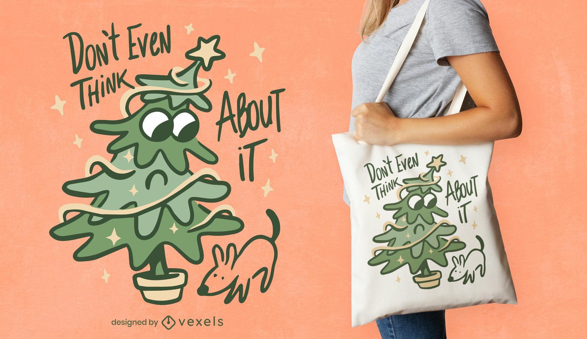 Diseño divertido de la bolsa de asas del árbol de navidad