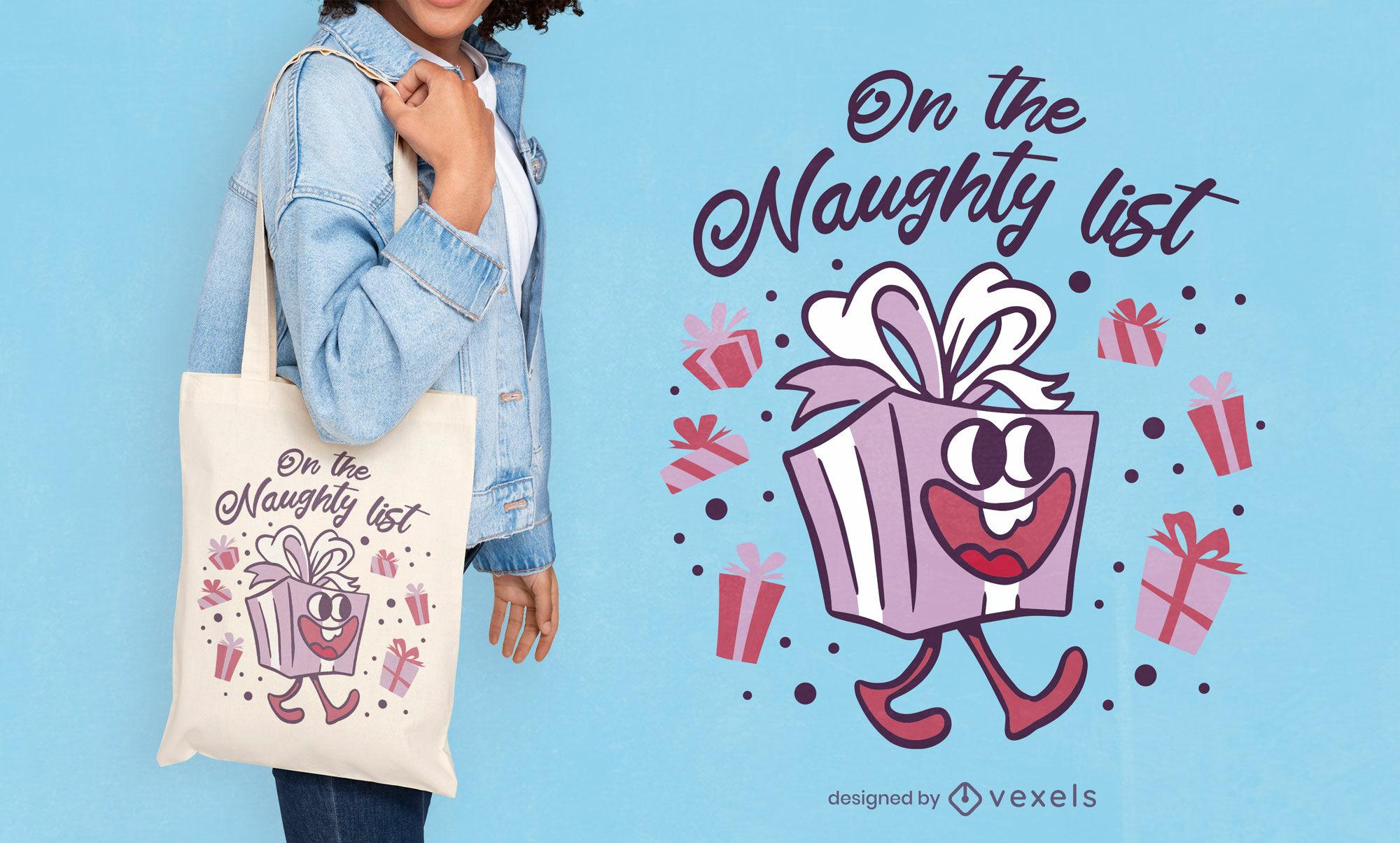 Diseño divertido de la bolsa de asas del regalo de navidad