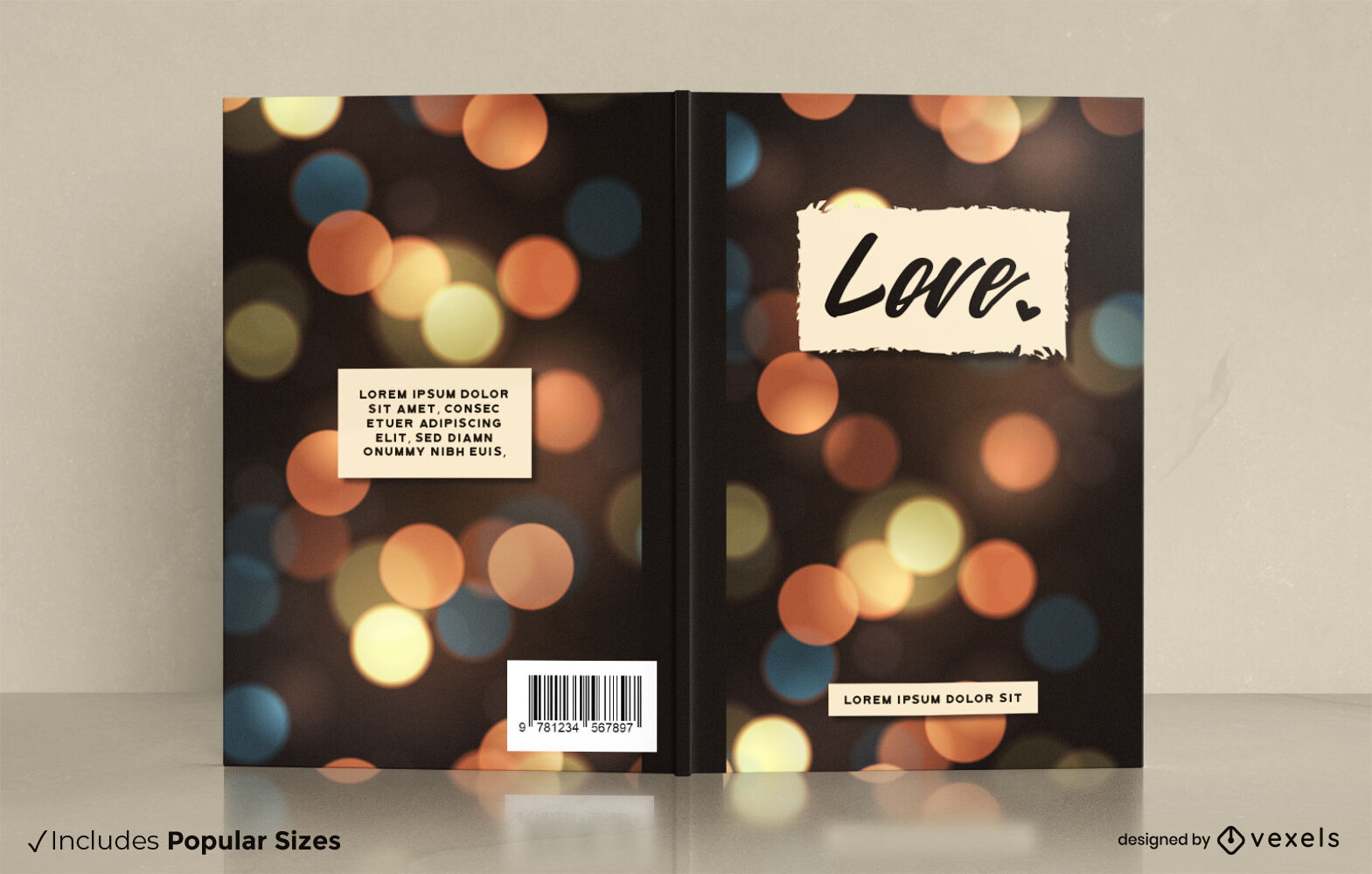 Bokeh lights book cover design
