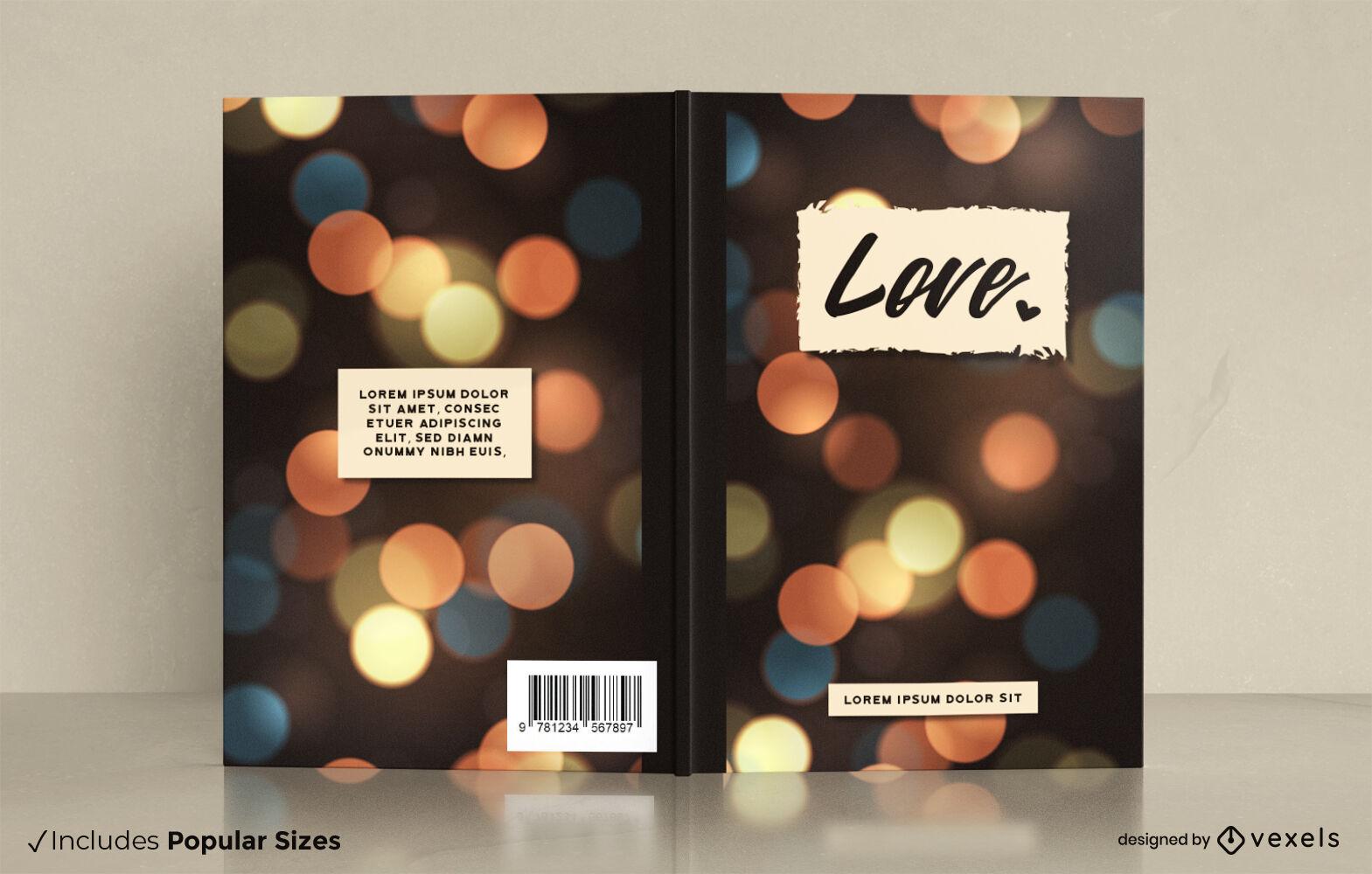 Diseño de portada de libro de luces bokeh