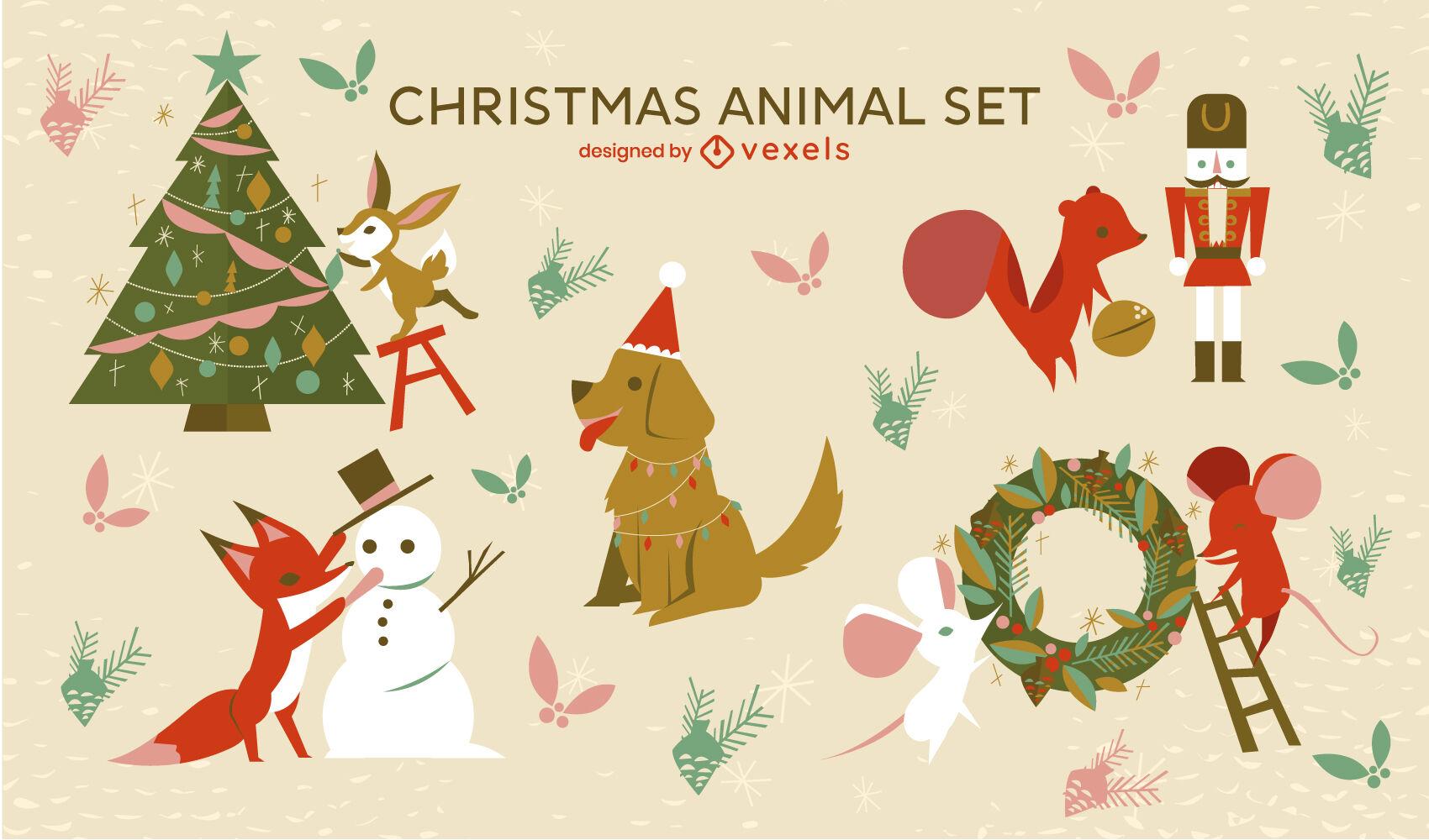 Conjunto de vacaciones de animales y elementos navideños.