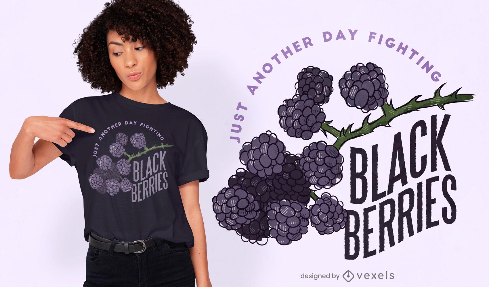 Diseño de camiseta Cool Fight Black berries