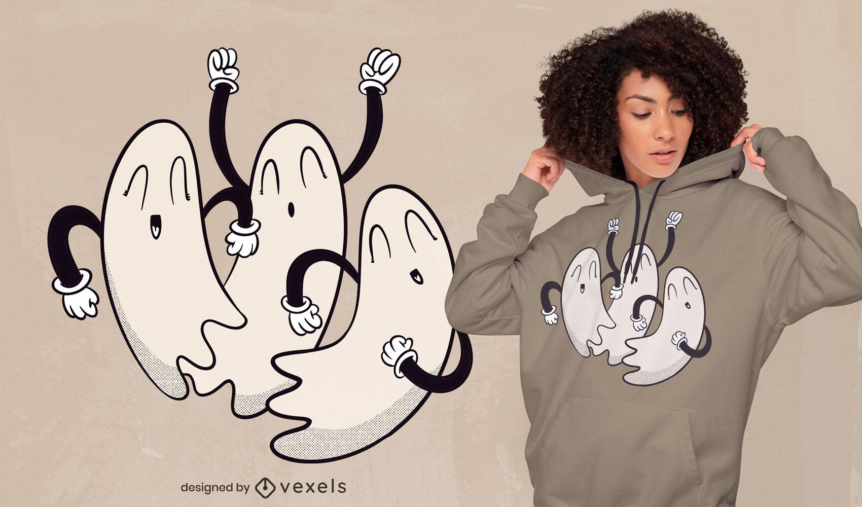 SOLICITAR Cool ghosts diseño de camiseta dibujos animados retro