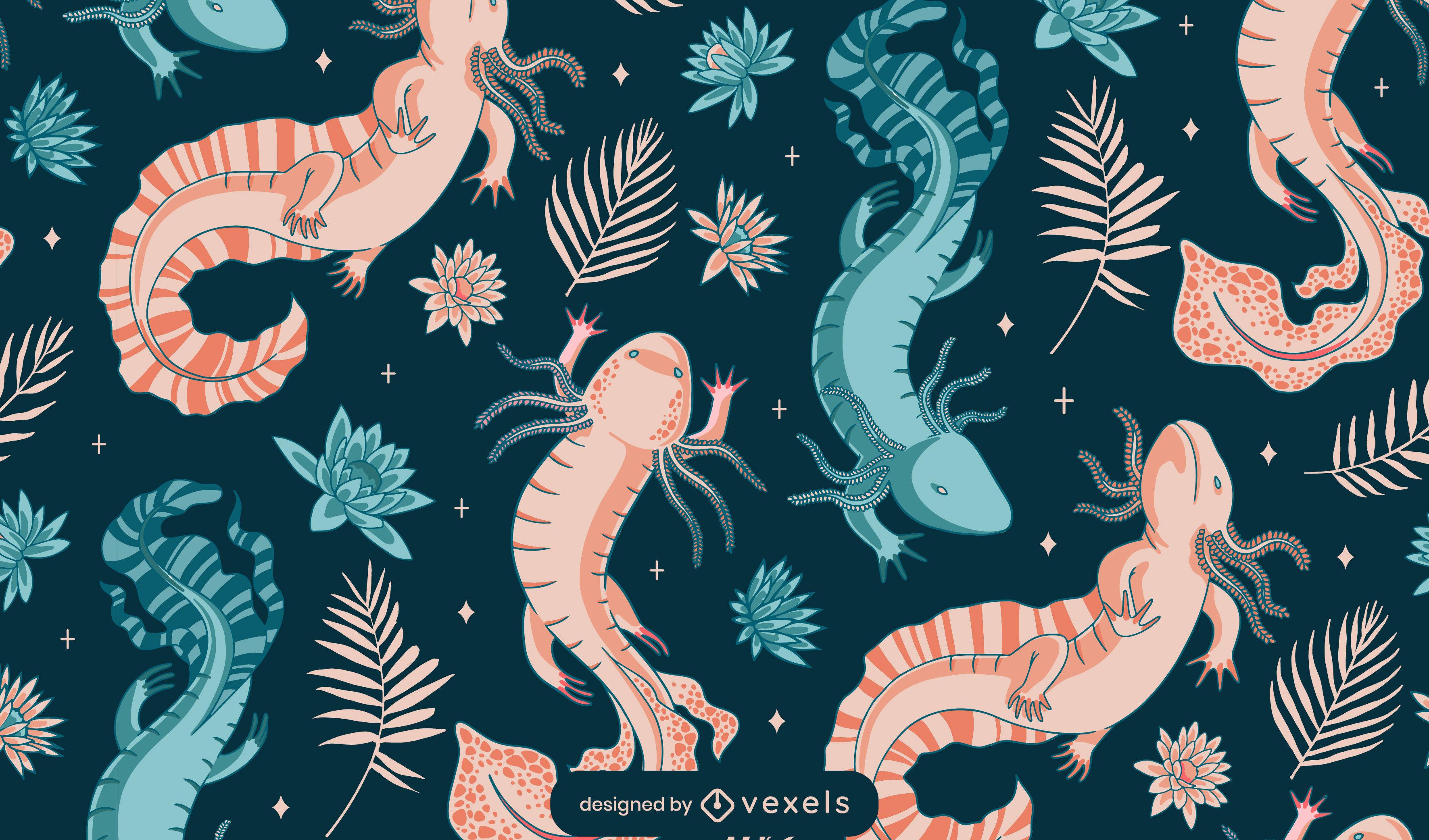 Diseño de patrón de axolotl duotono