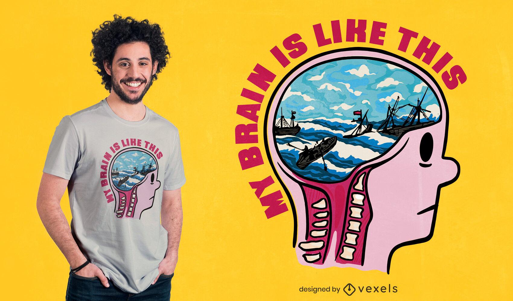 Dise?o de camiseta de cerebro en el mar