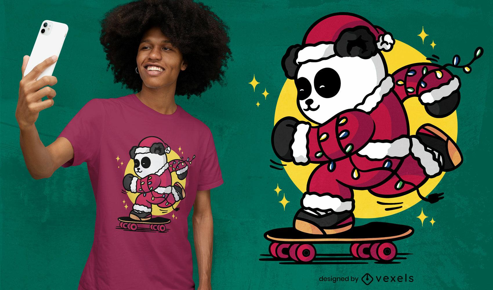Diseño de camiseta patinando santa panda.