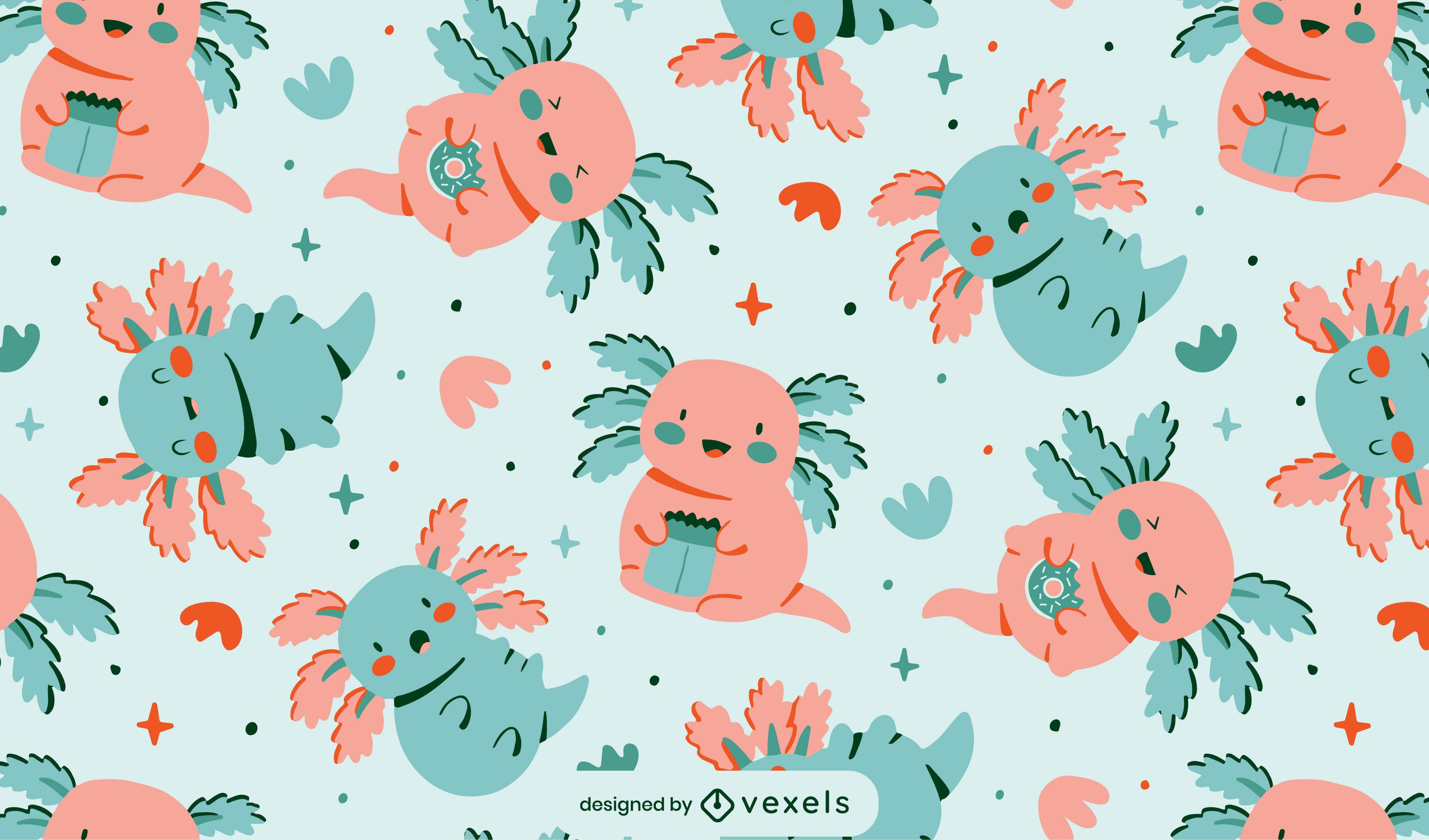 Desenho de padrão axolotls fofo