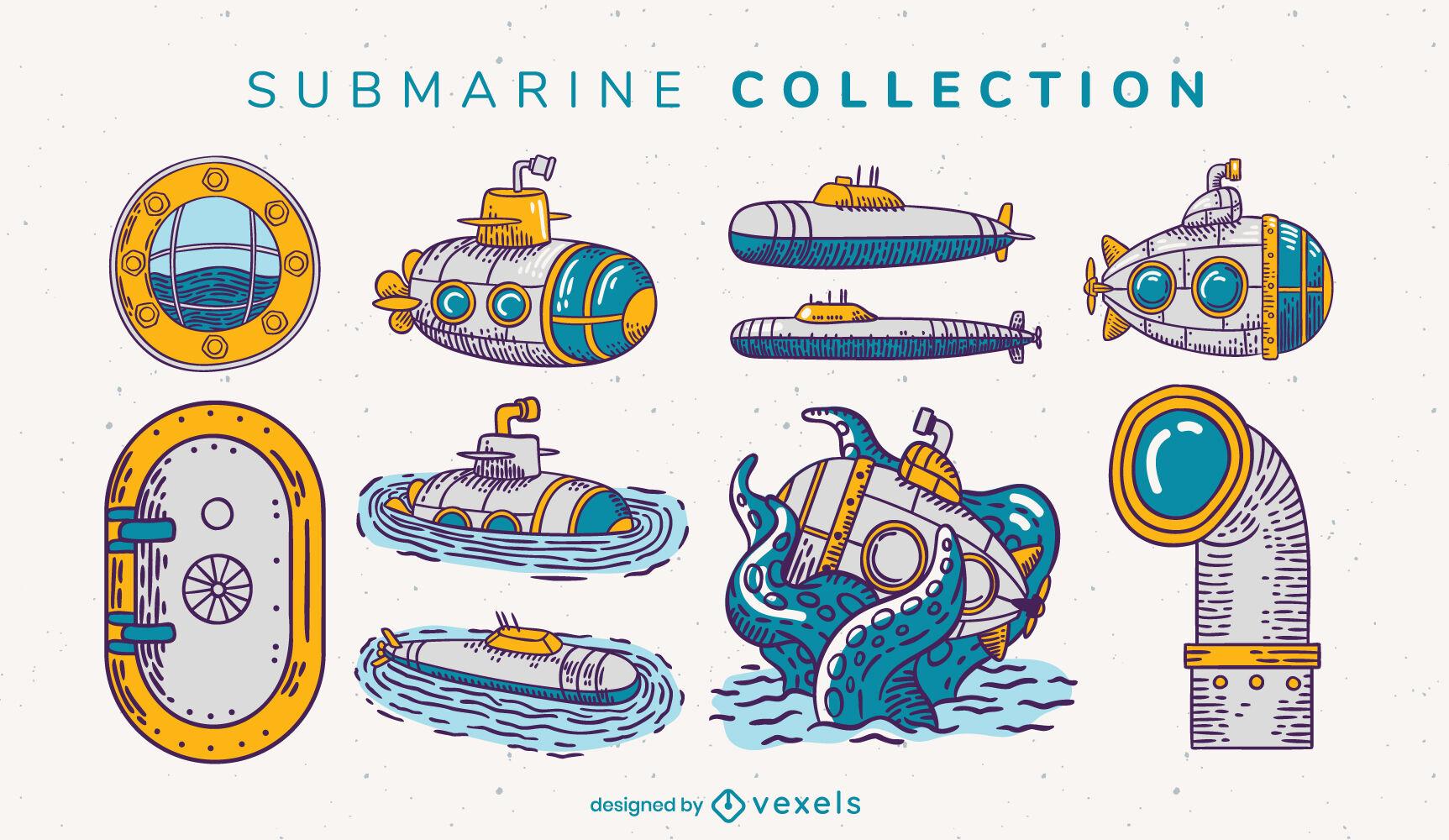 Conjunto de trazos de color de elementos submarinos