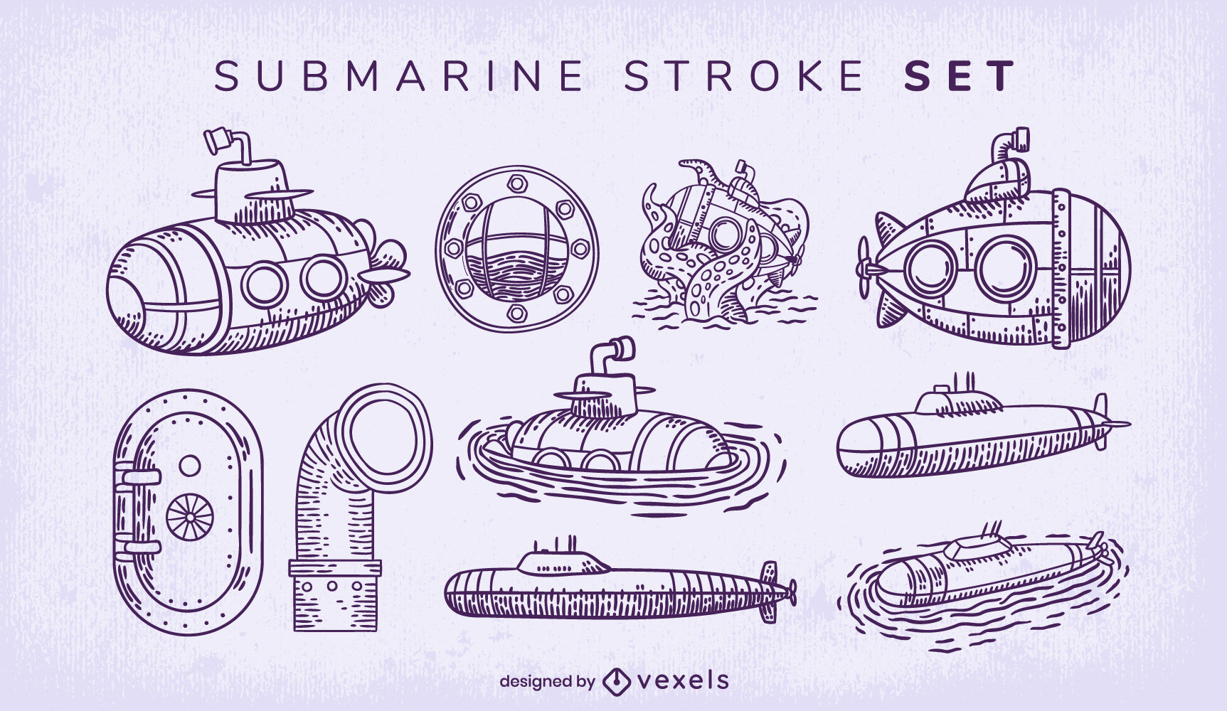 Conjunto de trazos de elementos submarinos