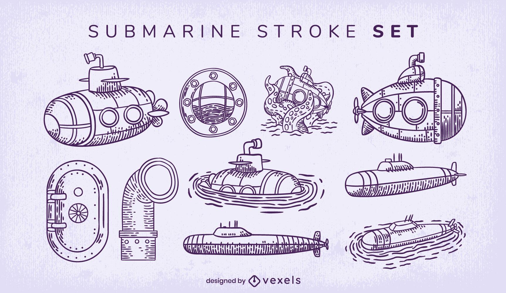 U-Boot-Elemente-Strich-Set