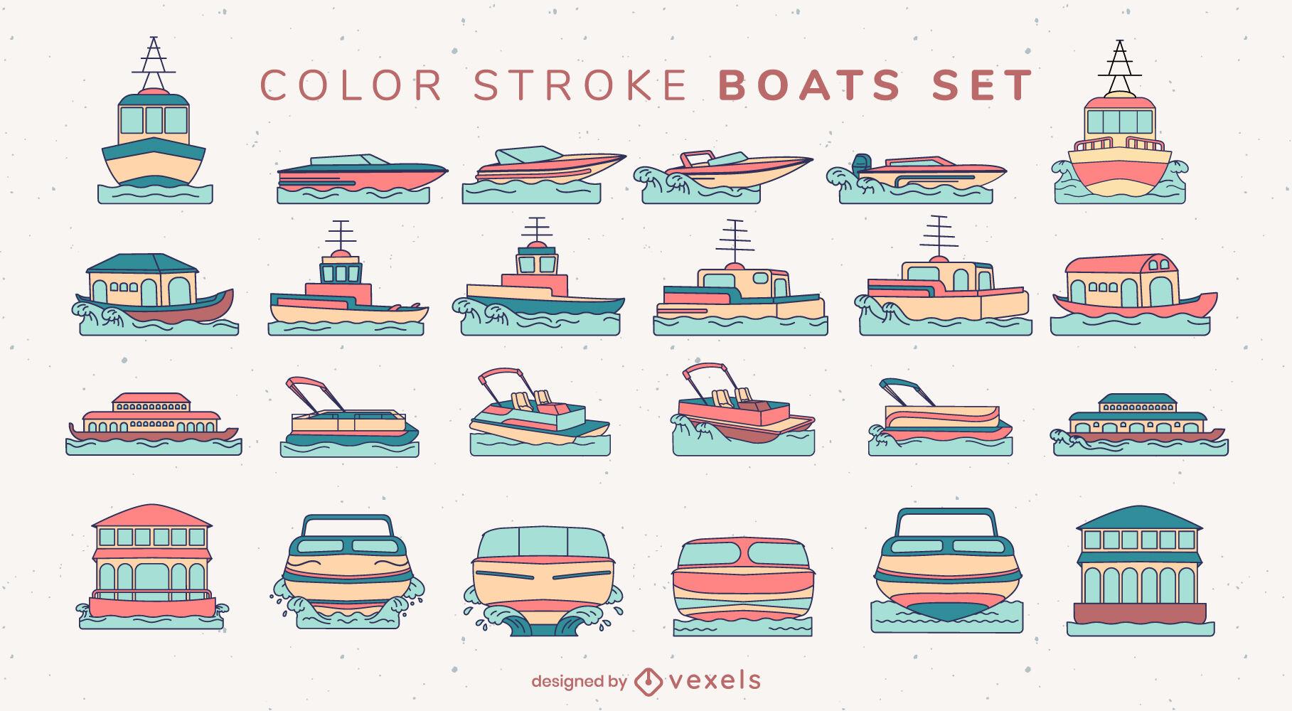 Conjunto grande de trazo de color de barcos y barcos.