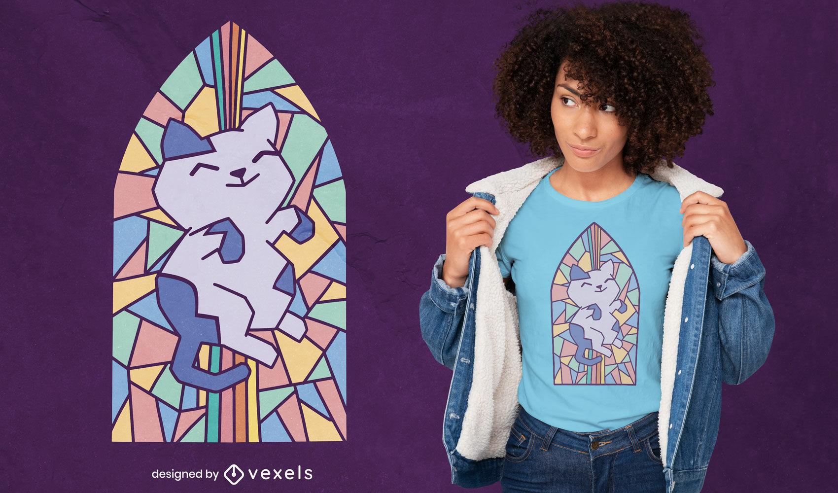 Diseño de camiseta de gato en la ventana de la iglesia
