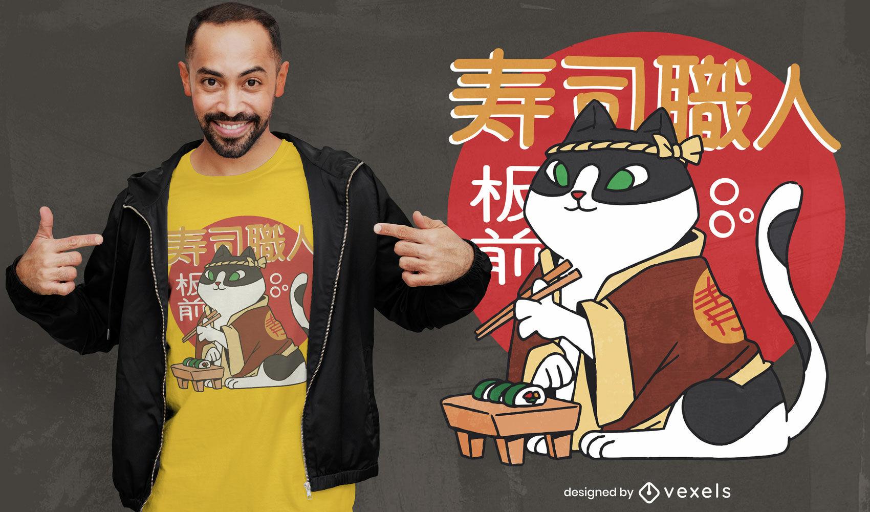 Design de t-shirt do chef sushi cat