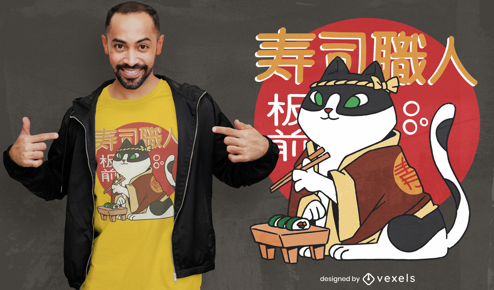 Sushi Katze Koch T-Shirt Design