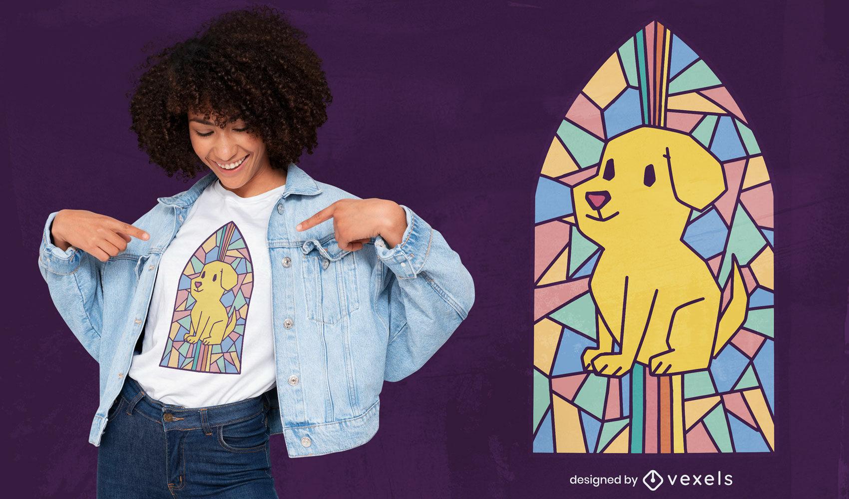 Dog in church window t-shirt design