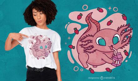 Cute axolotl drinking millk t-shirt design