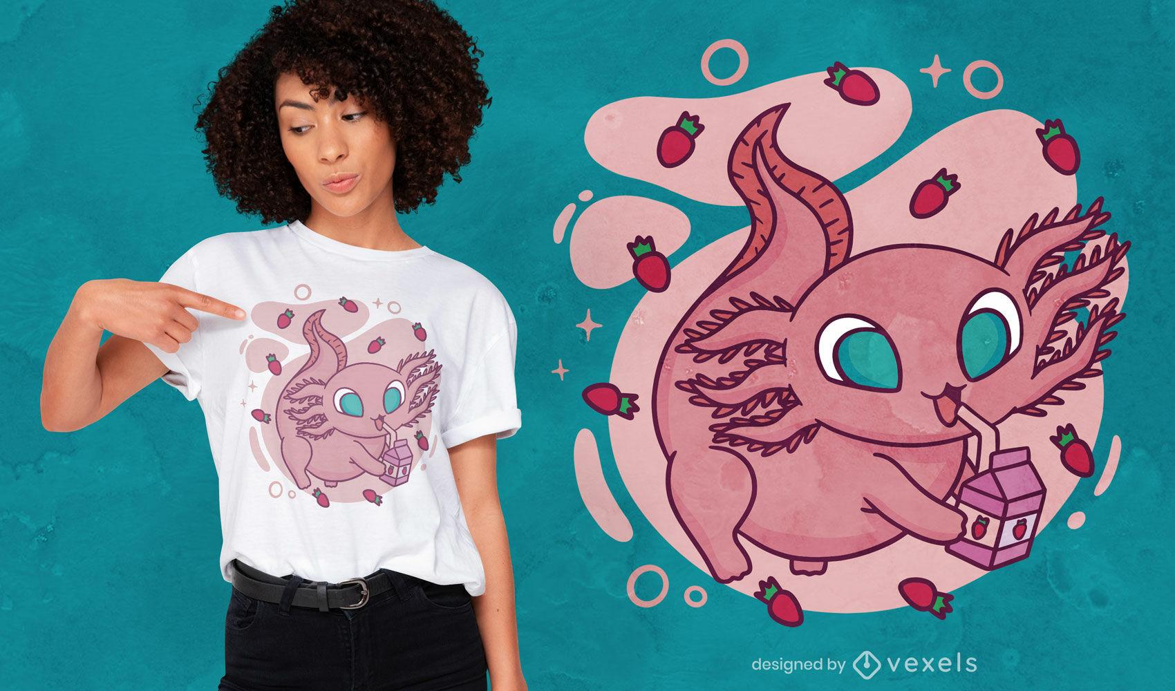 Design fofo de t-shirt axolotl potável millk