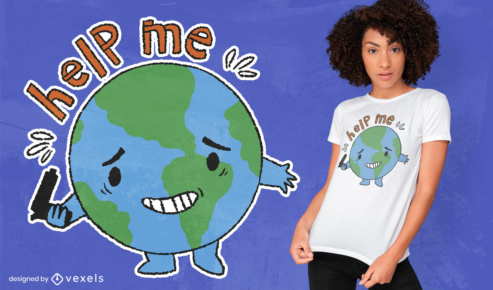 Cartoon planet earth help me quote t-shirt design