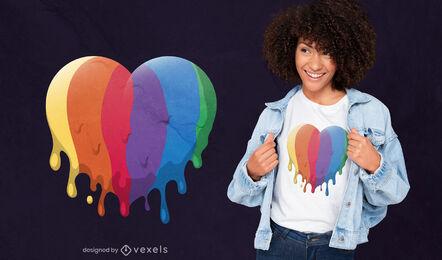 Diseño de camiseta de corazón LGBT