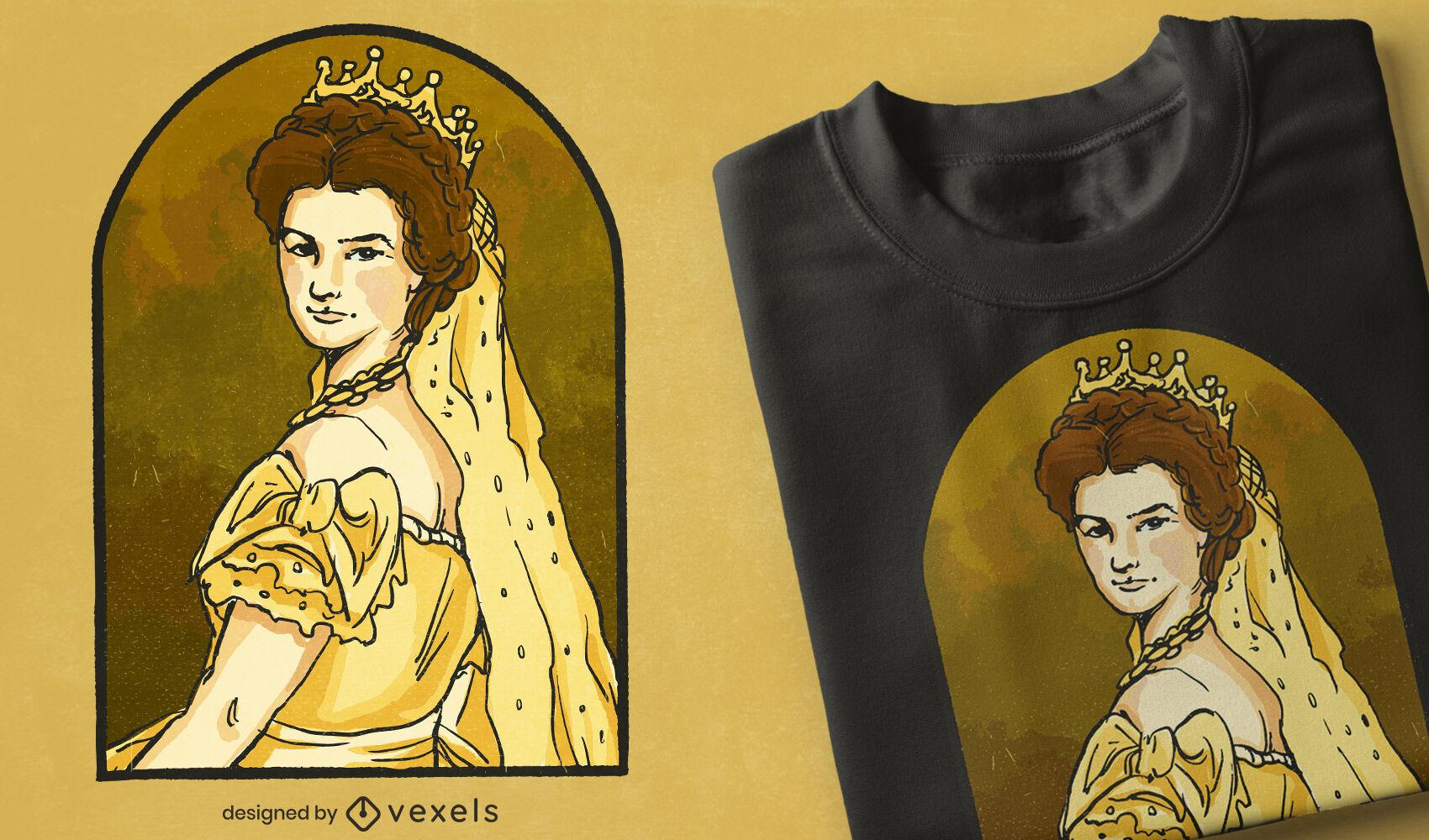 Diseño de camiseta reina isabel de austria