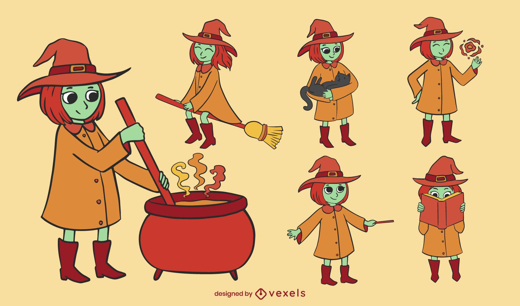 Cool witch illustrations set color stroke