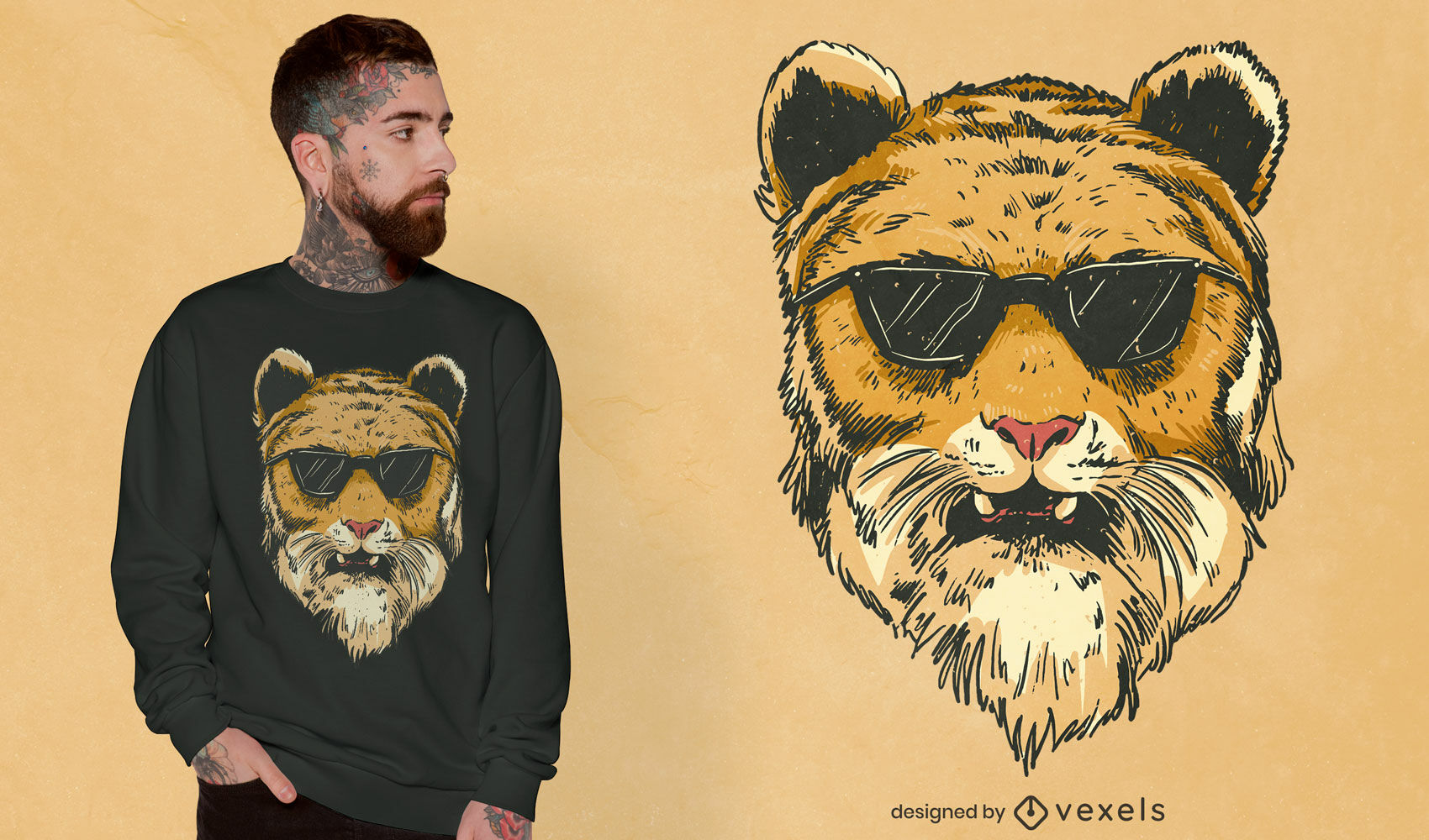 Cool tiger with sunglasses tshirt design