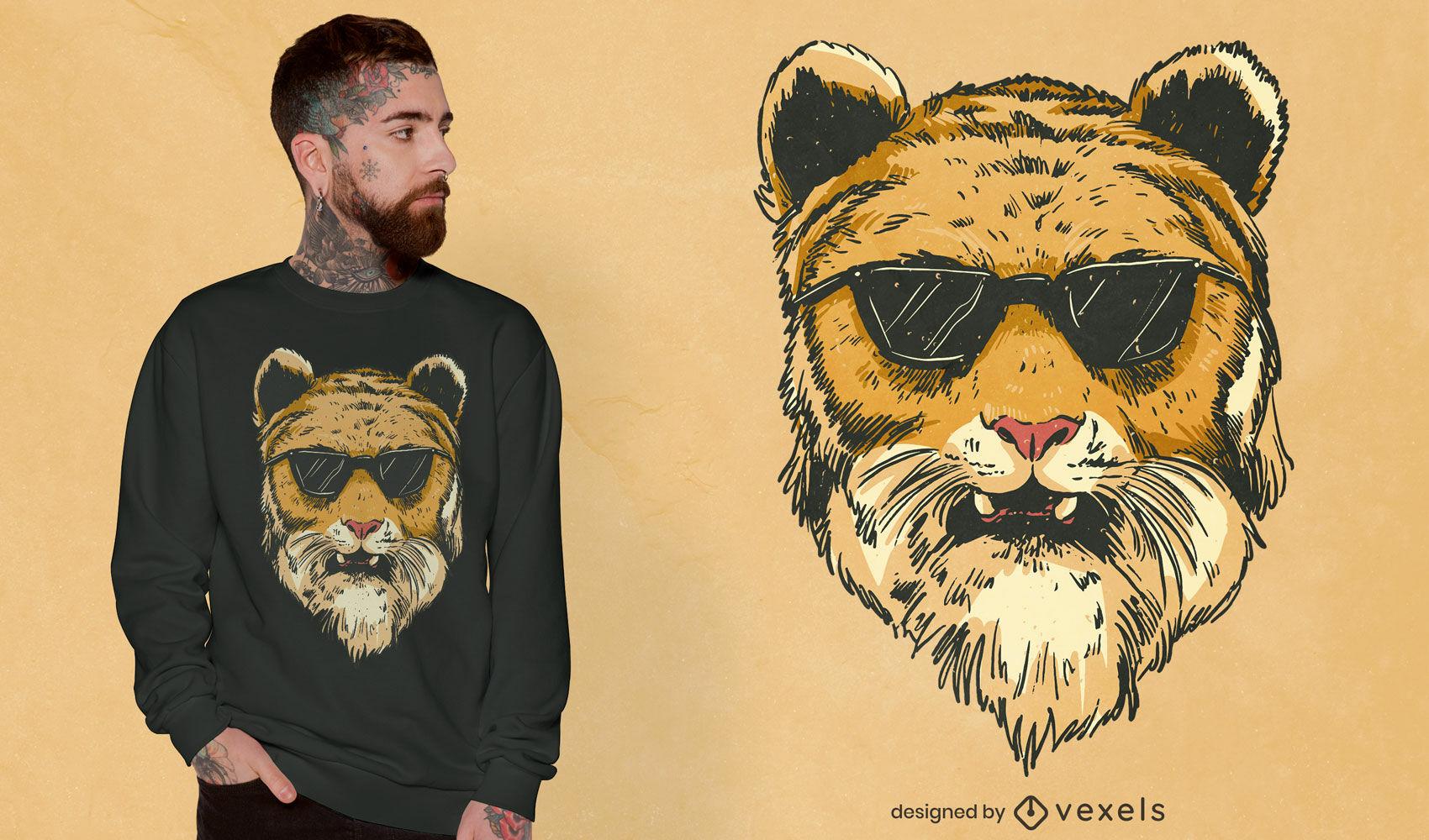 Tigre legal com design de camiseta de óculos de sol