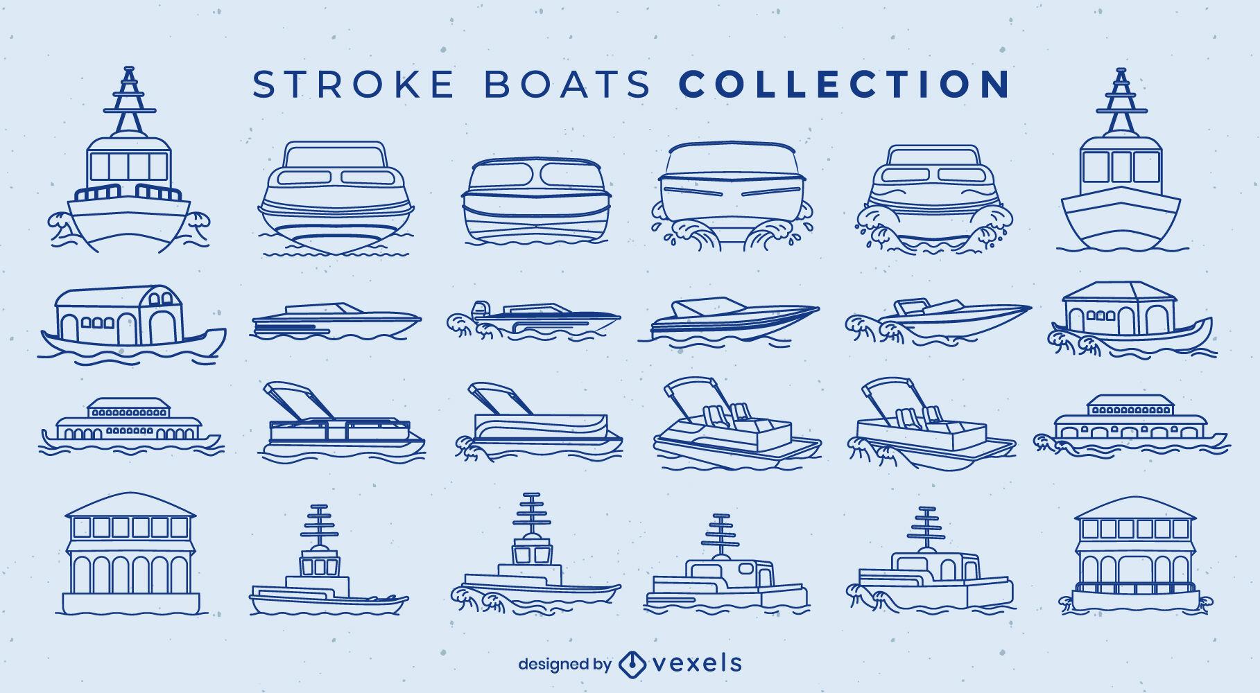 Barcos y barcos trazo conjunto grande.